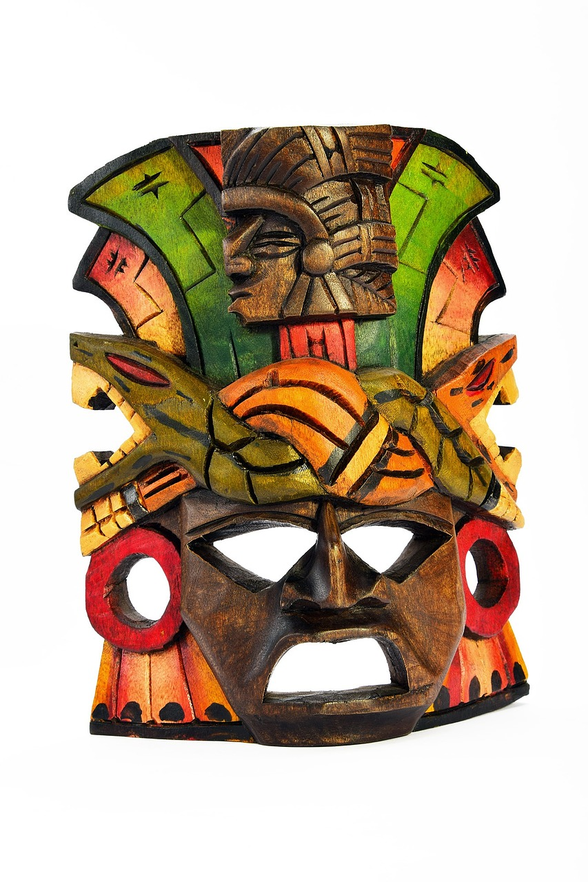 Mask Carved Souvenir Painted Wooden Isolated